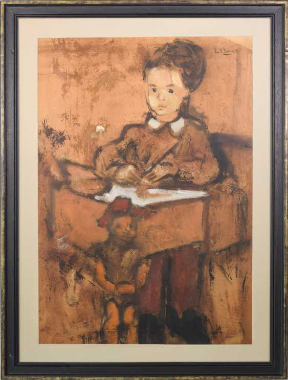 Girl and Puppet Sitting at a Desk Oil on paper. - photo 2