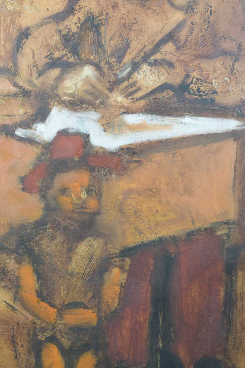 Girl and Puppet Sitting at a Desk Oil on paper. - photo 3