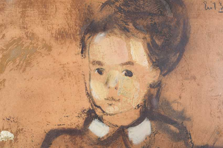Girl and Puppet Sitting at a Desk Oil on paper. - photo 4