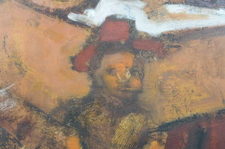Girl and Puppet Sitting at a Desk Oil on paper. - photo 5