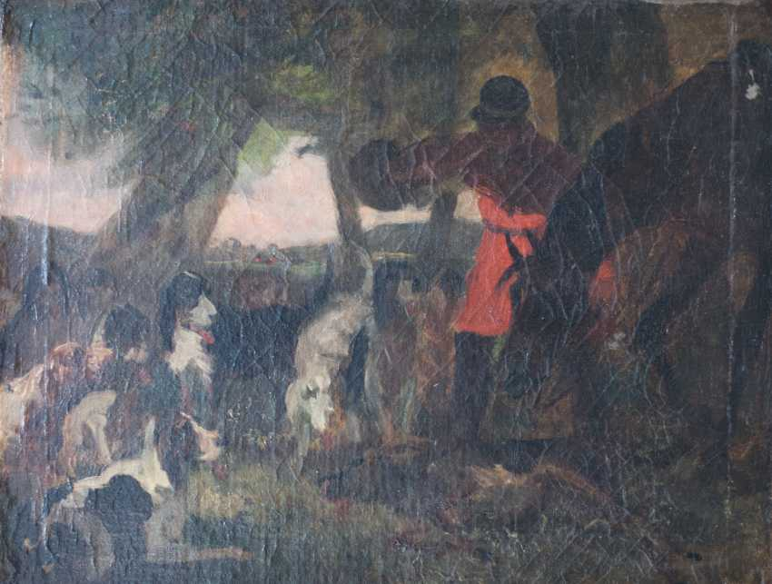 Hunting scene with horse and hounds from the 19th century. Oil on canvas - photo 1