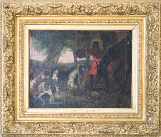 Hunting scene with horse and hounds from the 19th century. Oil on canvas - photo 2