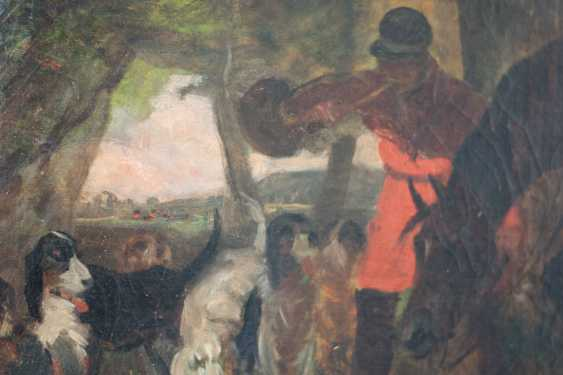 Hunting scene with horse and hounds from the 19th century. Oil on canvas - photo 3