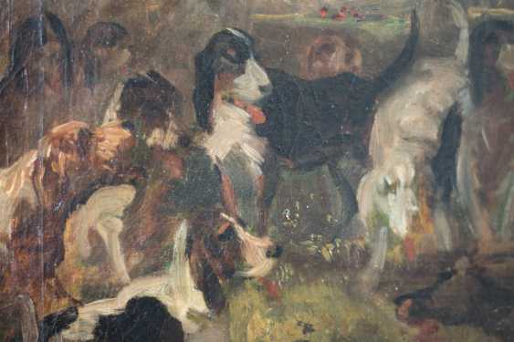 Hunting scene with horse and hounds from the 19th century. Oil on canvas - photo 4