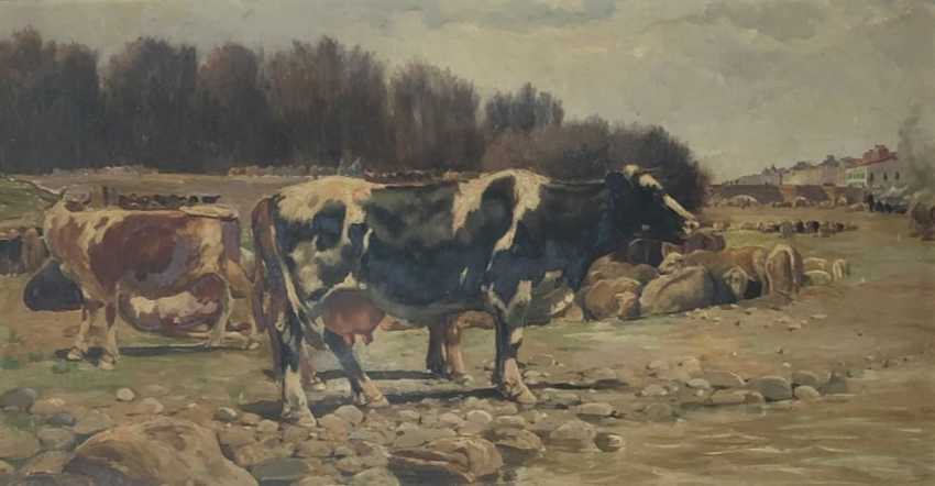 Oil Landscape with cows in a Naturalist style by Ramon Mestre Vidal - photo 1