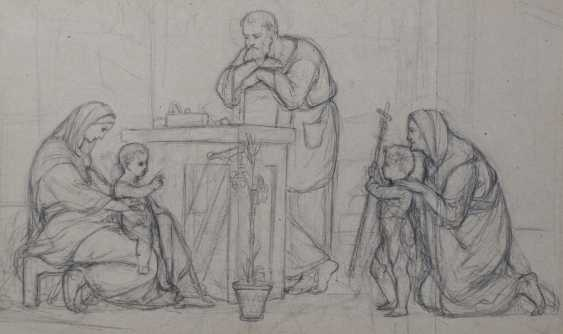 Pre-Raphaelite Drawing of the Holy Family - photo 1