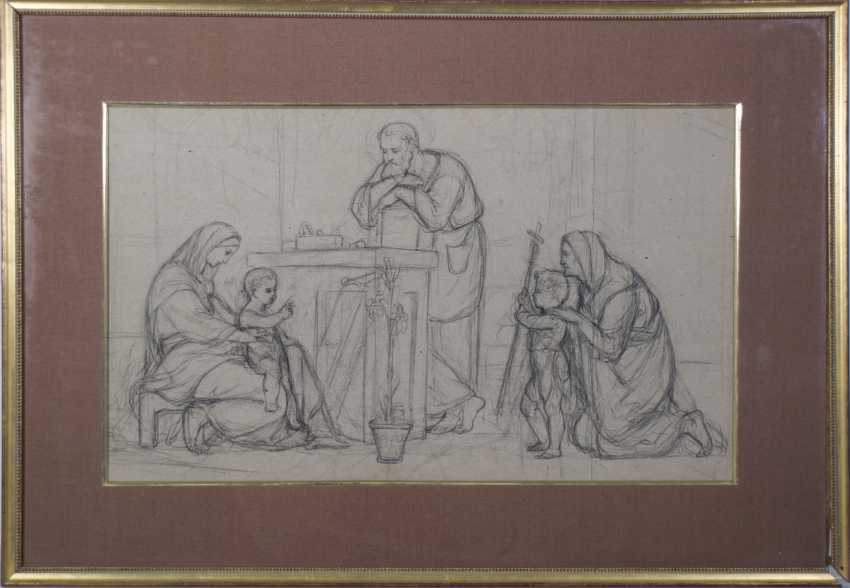 Pre-Raphaelite Drawing of the Holy Family - photo 2