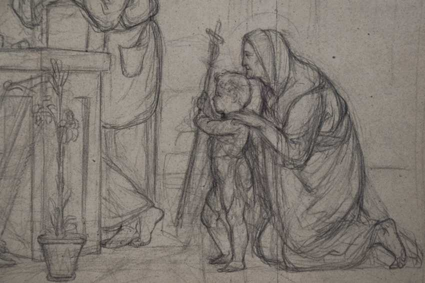 Pre-Raphaelite Drawing of the Holy Family - photo 4