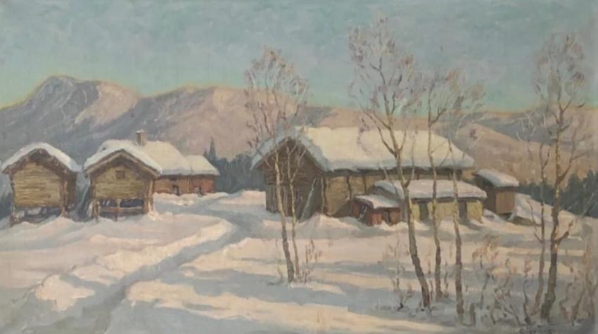 Post Impressionist German Snowscape With Soft Golden Light - photo 1