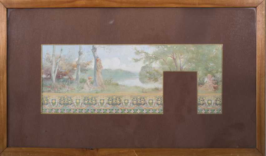 Nabis-style Watercolour Study for Wall Frieze - photo 2
