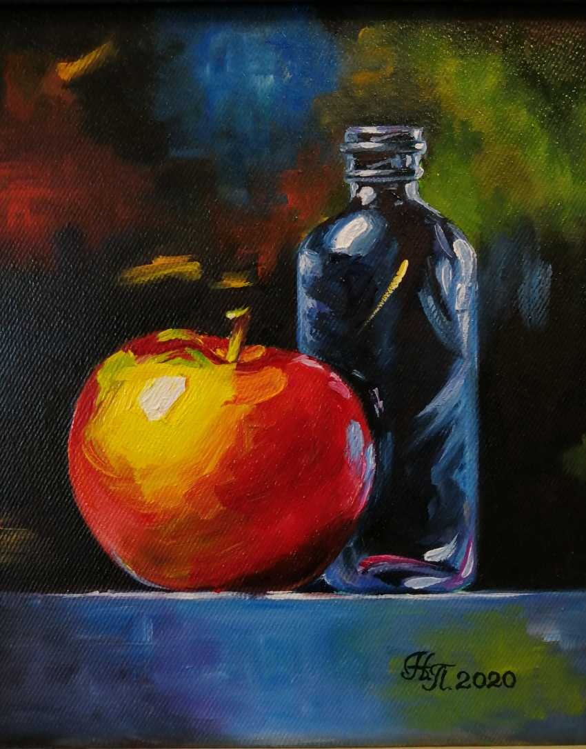 "Natalya Parshina. ""Still life with an apple and a blue bottle"". - photo 2"