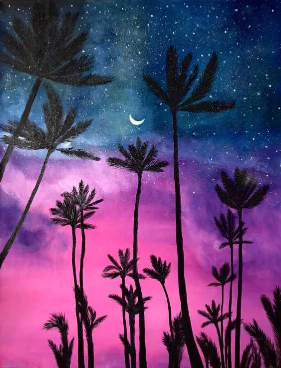 Natallia Komar. Chill Malerei Sonnenuntergang Palmen Himmel - Foto 1