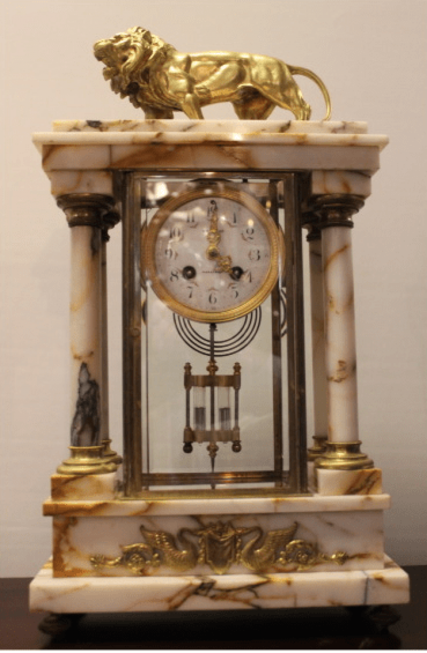 Mantel clock lion with cups - photo 2