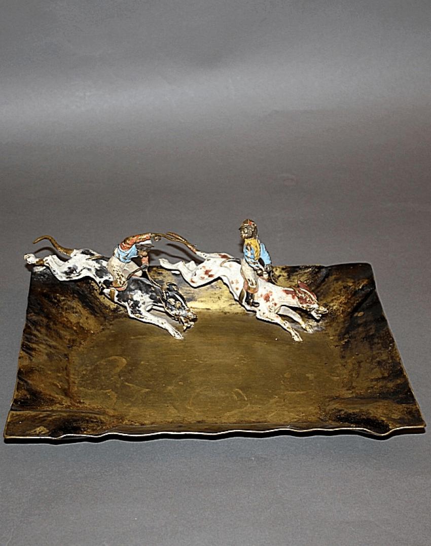 "Business card holder ""Monkey jockeys.Vienna, Austria, bronze - photo 1"
