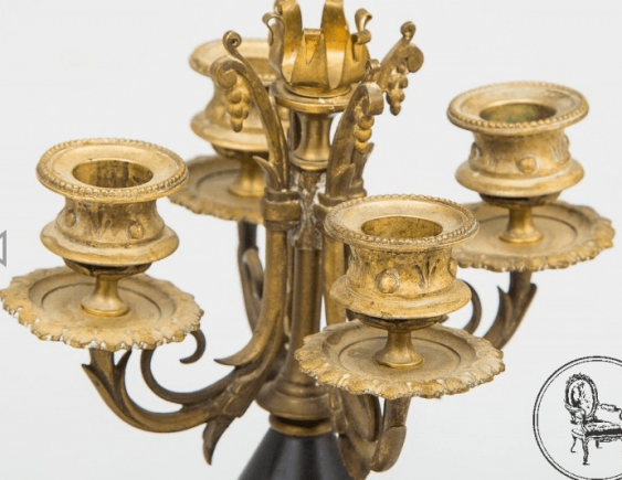Clock and two candlesticks - photo 2