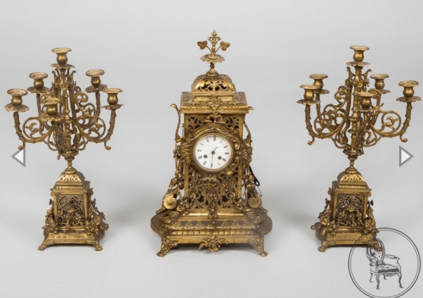 Clock and two candlesticks - photo 1