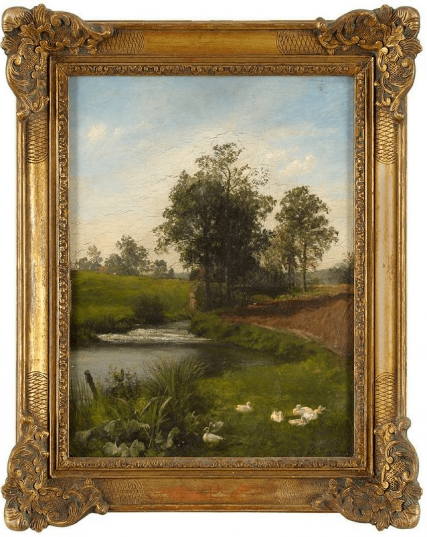 Summer landscape with pond Western Europe, late XIX century - photo 1