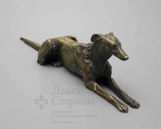 "Vintage bronze figurine ""the Dog breed Borzoi"" Russia 19th century - photo 1"