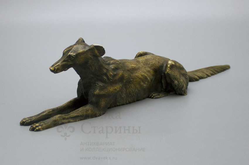 "Vintage bronze figurine ""the Dog breed Borzoi"" Russia 19th century - photo 2"