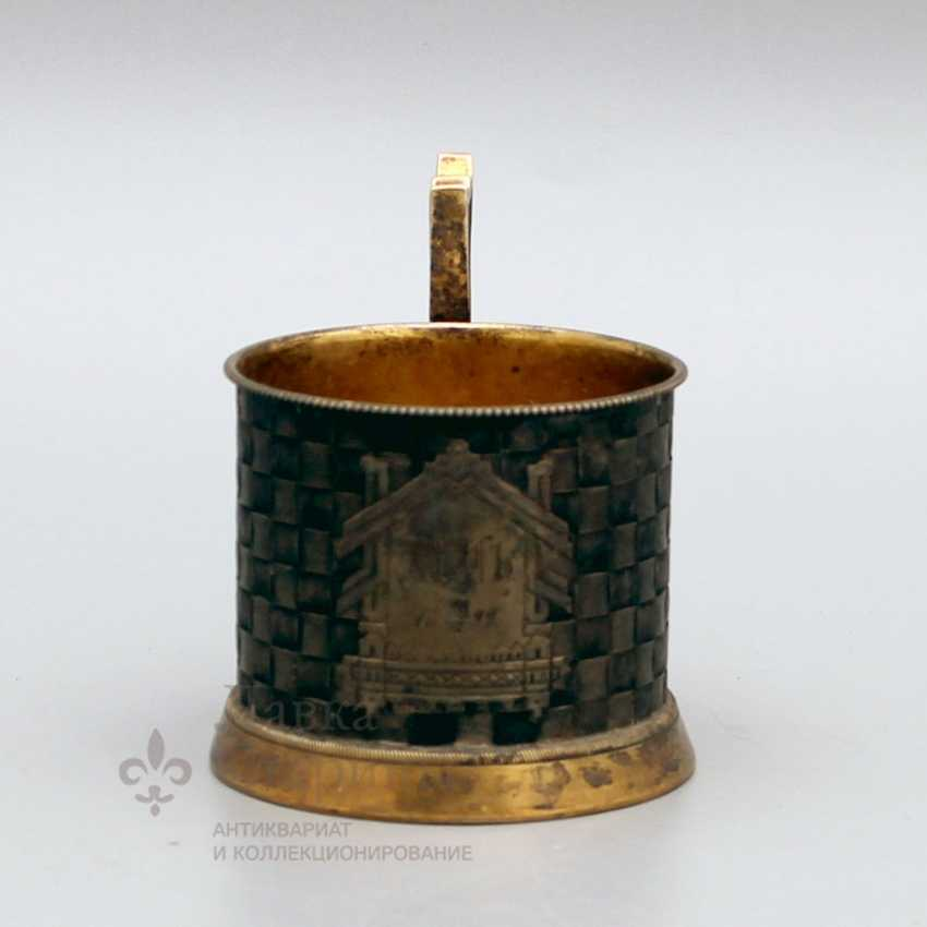 Cup holder with imitation of braiding from birch bark, Russia, 1883, silver 84 samples - photo 2