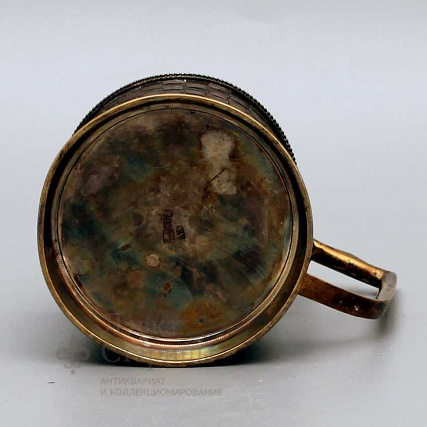 Cup holder with imitation of braiding from birch bark, Russia, 1883, silver 84 samples - photo 3