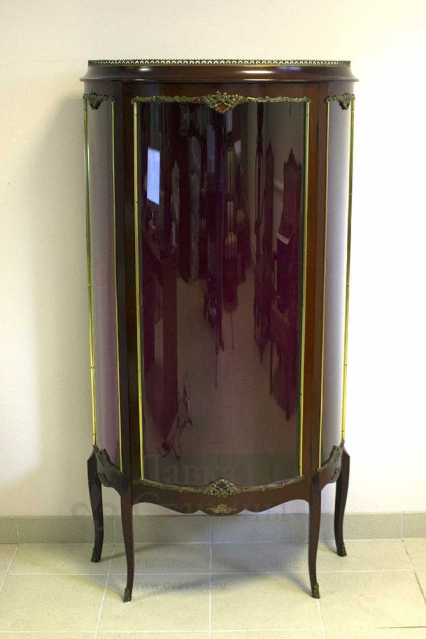 Antique display showcase mahogany with overlays, Europe, 20th century - photo 1