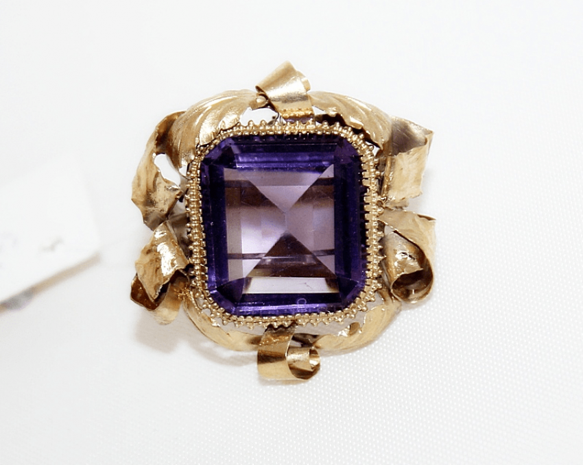 Ring with amethyst gold 56 sample - photo 1