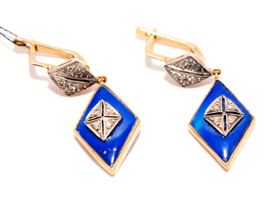 Earrings with lapis lazuli gold 56 - photo 1