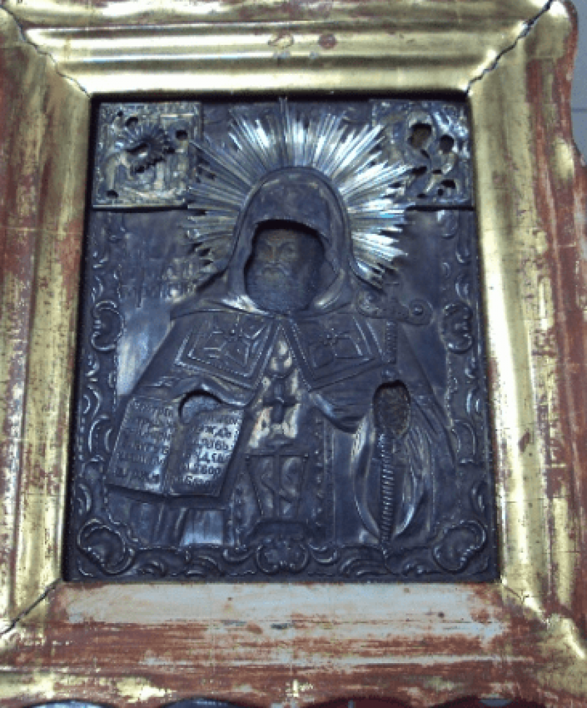 Ikone der Heiligen Mitrofan in Silber - Foto 5