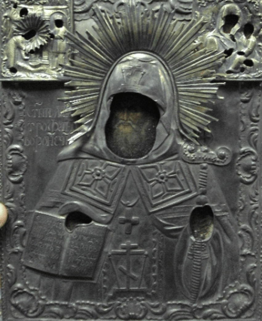 икона Святой Митрофан в серебре - фото 6