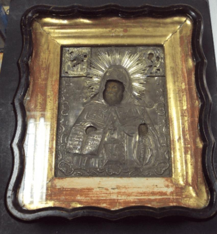 Ikone der Heiligen Mitrofan in Silber - Foto 1
