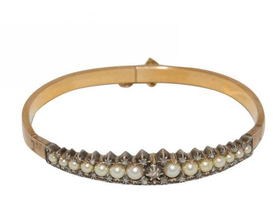 Bracelet with pearls and diamonds - photo 1