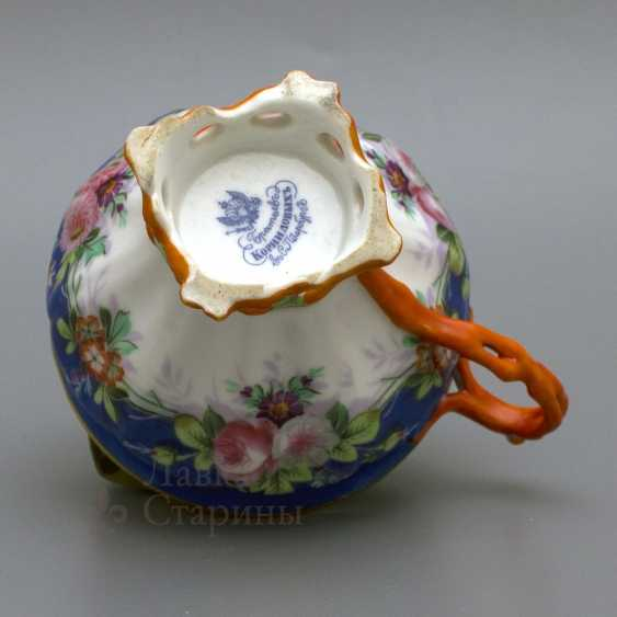 "A couple of tea with a porcelain spoon ""Floral bouquet"" porcelain Kornilov Brothers, Russia, C. 19th century - photo 4"