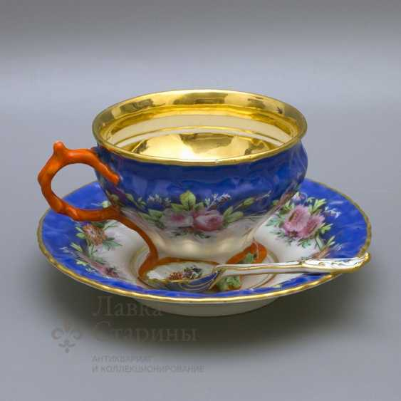 "A couple of tea with a porcelain spoon ""Floral bouquet"" porcelain Kornilov Brothers, Russia, C. 19th century - photo 2"