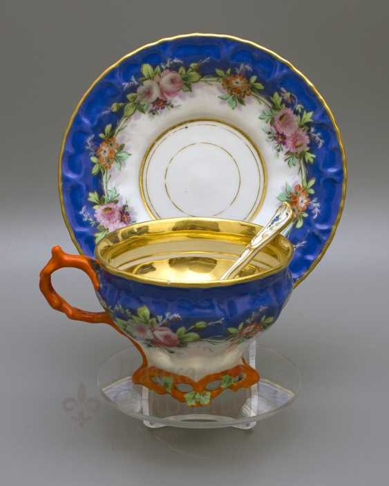 "A couple of tea with a porcelain spoon ""Floral bouquet"" porcelain Kornilov Brothers, Russia, C. 19th century - photo 1"