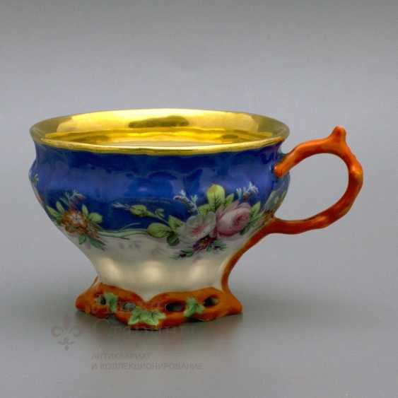 "A couple of tea with a porcelain spoon ""Floral bouquet"" porcelain Kornilov Brothers, Russia, C. 19th century - photo 3"