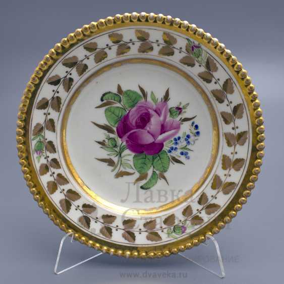 """Saucer """"Peony"""", the Gardner Factory, Russian porcelain of the 19th century - photo 1"""