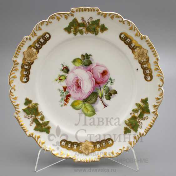 Plate Roses, porcelain Popov factory, late 19th century - photo 1