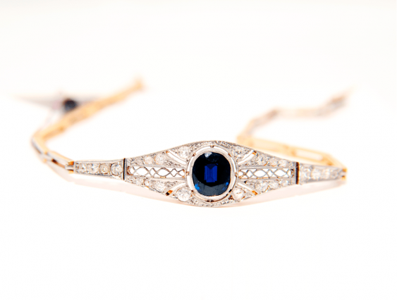 C bracelet sapphire and diamonds gold 56 - photo 1