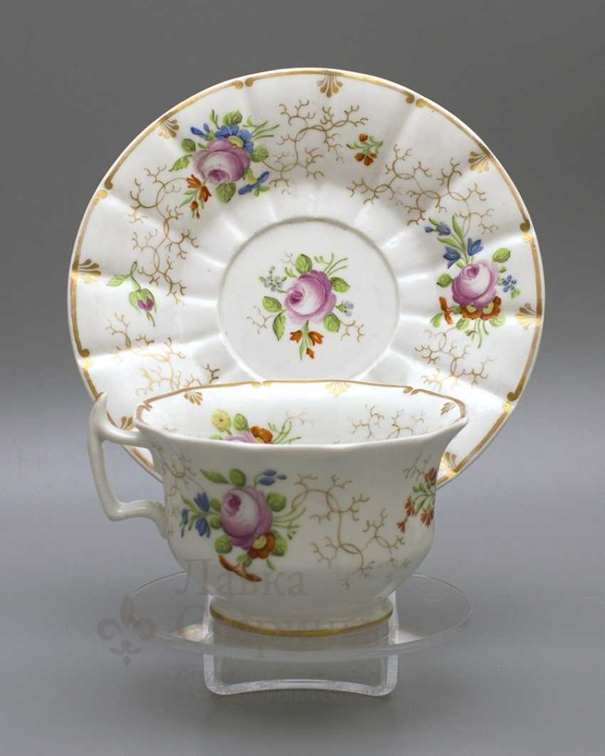 A couple of tea, Russia, Imperial porcelain factory, Nicholas I - photo 1