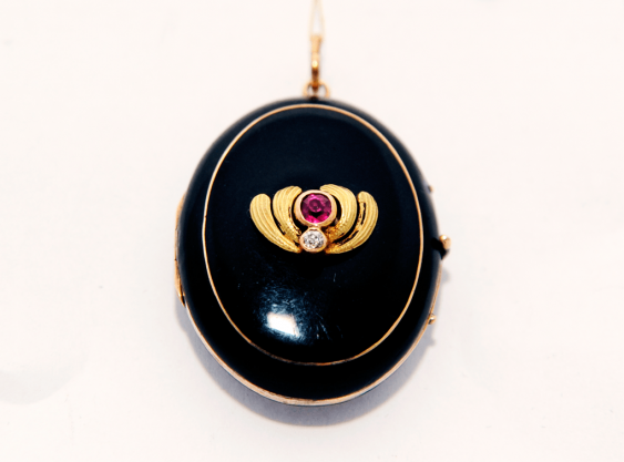 Locket with enamel and ruby.gold 56 - photo 1