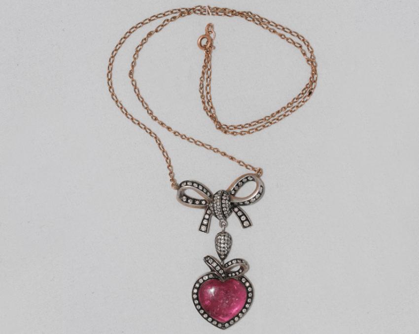 Pendentif avec chaîne avec des matériaux de tourmaline et de diamants - photo 1