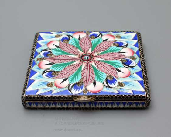 Soviet jewelry box with enamel, silver 916 samples, enamel, fine arts, 1930 - photo 1