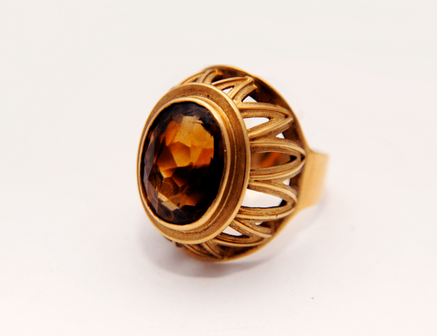 Ring with rauchtopaz.gold 56 - photo 1