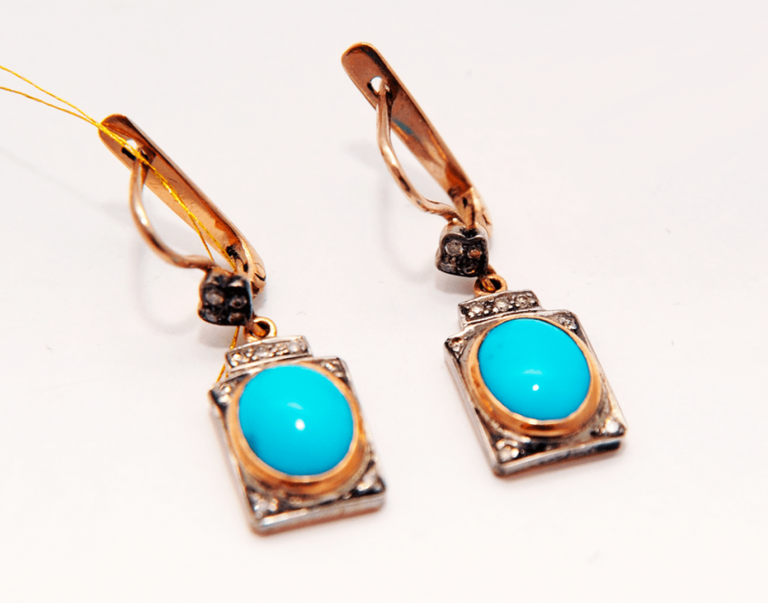 Earrings with turquoise and diamonds - photo 1