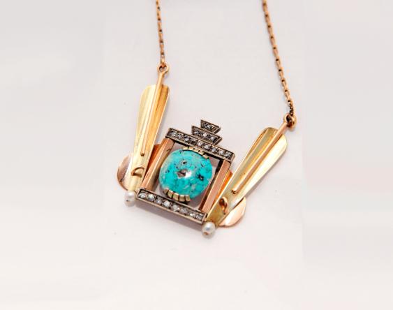 Pendentif turquoise, de perles et de diamants - photo 1