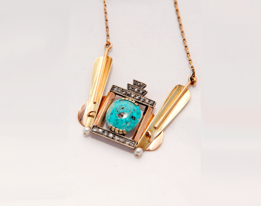 Pendant with turquoise pearls and diamonds - photo 1