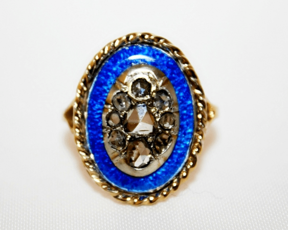 Ring with diamonds and enamel - photo 2