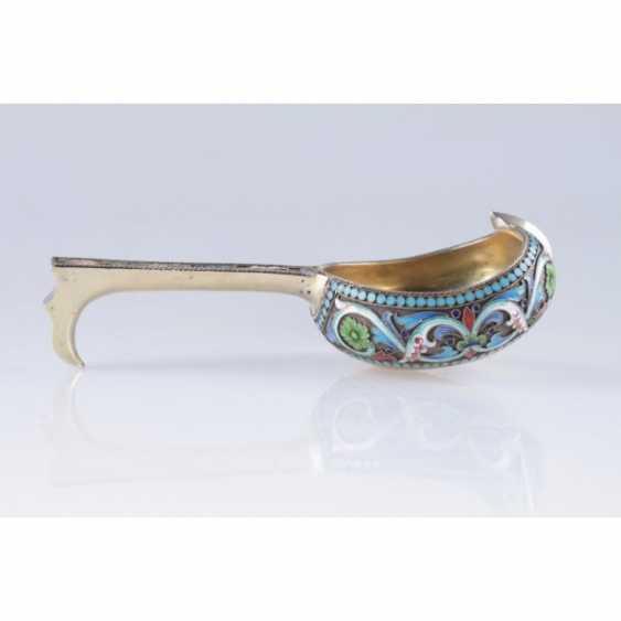 Ladle in the art Nouveau style. Russia silver 84 St., enamel. - photo 1