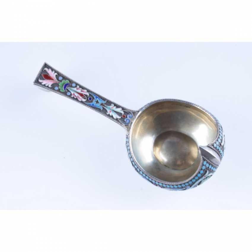 Ladle in the art Nouveau style. Russia silver 84 St., enamel. - photo 2